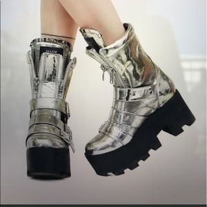 Plated Detroit Boots by Current Mood. Burning Man!